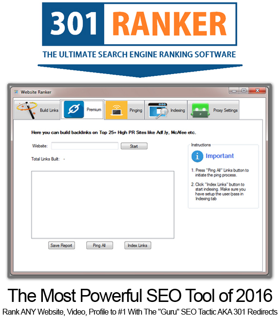301 Ranker Software Pro LIFETIME ACCESS!!! Powerful SEO Software